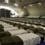 Beds prepared for the victims evacuated from the toxic red sludge-hit Kolontar village.