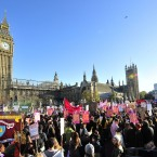 Students and teachers gather in central London to protest against university funding cuts and Government plans to charge up to 9,000 per year in fees from 2012.