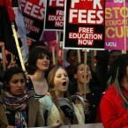 Students and teachers gather in central London to protest against university funding cuts and Government plans to charge up to £9,000 per year in fees from 2012.