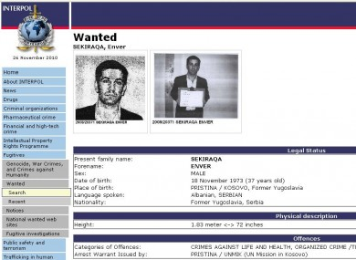 Enver Sekiraqa on the Interpol wanted list