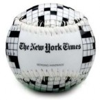Eight words, starts with 'B' ends in 'ball'... that's right, it's a NY Times crossword puzzle baseball. Perfect for the commute to work.