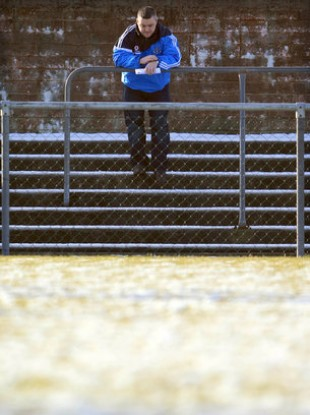 A lone Dublin supporter on the terraces yesterday.