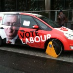 Labour is stopped, briefly, in its tracks as a campaign car is clamped outside its election HQ today. (Thanks to Caitriona Nic Gorain for the headline!)