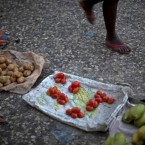 A sparsely-stocked vegetable stand in downtown Port-au-Prince, Haiti, where locals are waiting for the presidential election. 