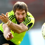 Toms O'Leary gets in some practice at Munster squad training in Limerick.