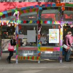 A bus shelter gets yarnbombed. Aine D/Flickr
