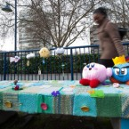 Nintendo get into the yarn/knit bomb trend with this installation in London. Image: Matt Crossick/PA Wire
