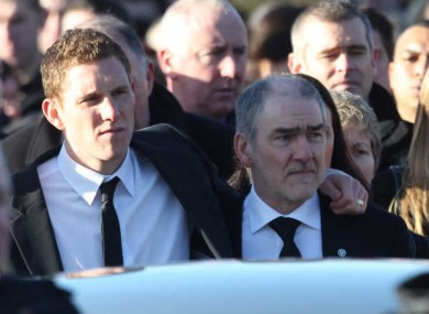 Michaela's husband John and father Mickey Harte at her funeral on 17 January