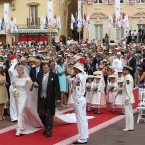 Charlene Wittstock arriving for her wedding to Prince Albert II of Monaco at the Place du Palais.