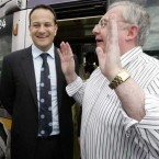Minister for Transport, Tourism and Sport, Leo Varadkar TD, left, and Pat Rabbitte TD, Minister for Communications, Energy and Natural Resources, at the Fortunestown Luas Stop. Pic: Photocall Ireland