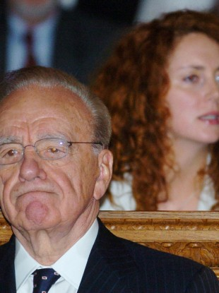 News Corporation chairman Rupert Murdoch and Rebekah Brooks, who resigned today.
