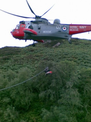 The man was found off the coast of the Isle of Man after an air and sea search by four Coastguards