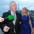 Charlie McCreevy with his wife Noleen arriving at Bertie Ahern's 60th birthday party at Croke Park. Photo Leon Farrell/Photocall Ireland