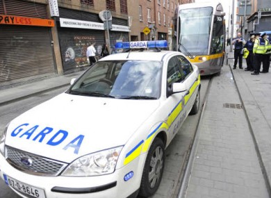 File photo of Garda attending an incident on a Luas line. 