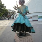 Dame Edna at the Docklands in Melbourne, Australia. She is joined at Waterfront City by fellow Ozzie Kylie Minogue.