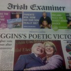 It's a picture of joy on the front page of the Irish Examiner, with Michael D and Sabina celebrating at Dublin Castle.