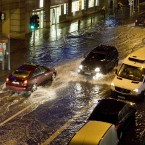 24/10/2011. Flooding. Cars pass each other on the Lower Rathmines Road during heavy rain which caused flash flooding in the area. Photo: Laura Hutton/Photocall Ireland
