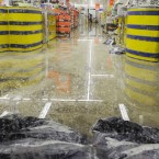 24/10/2011. Flooding. Bags of cat litter lean against the door of Lidl in Rathmines to try to protect it from flooding. The store closed this evening due to flood damage caused by heavy rain. Photo: Laura Hutton/Photocall Ireland