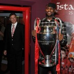 LeBron finally gets his hands on some silverware - the Champions League trophy won by Liverpool in 2005.