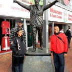 Posting with the famous statue of Bill Shankly.