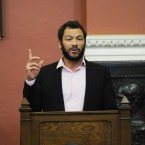 Dominic West gives a lecture to students in Dublin's Trinity College this evening. The Philosophical Society invited the actor to the college. Photo: Sasko Lazarov/Photocall Ireland