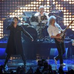 Adam Lambert, Roger Taylor and Brian May of Queen performed at the end.