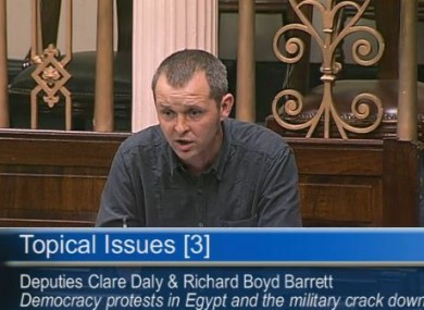 Richard Boyd Barrett raises the issue of Egypt in the Dil this afternoon