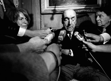 Pablo Neruda, poet and then Chilean ambassador to France, talk with reporters in Paris after being named the 1971 Nobel Prize for Literature