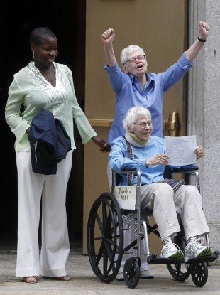 Phyllis Siegel and Connie Kopelov, the first same-sex couple to get married in New York, earlier this year.