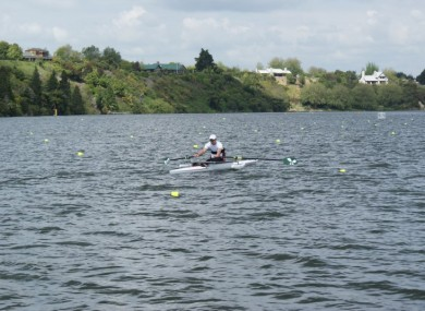 Karol Doherty competing in a rowing event. 
