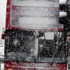 A bus makes its way through heavy snow near Newcastle as blizzards make walking and driving treacherous.