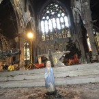 A statue of the Virgin Mary in front of the St Catherine's altar. Photograph: Sasko Lazarov /Photocall Ireland