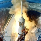 A plume of flames marks the lift-off of Apollo 11 from the Kennedy Space Centre on 16 July 1969, carrying astronauts Neil Armstrong, Michael Collins and Edwin 'Buzz' Aldrin. (NASA)