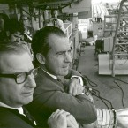 President Richard Nixon and NASA administrator Dr Thomas Paine wait for the astronauts to be flown from their landing pod to the USS Hornet. (NASA)