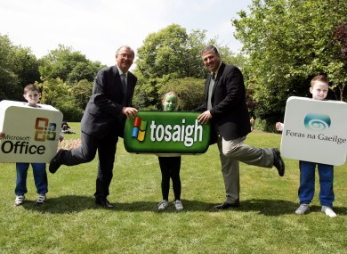 Irish language enthusiasts mark the launch of Windows XP in Irish in 2005. The Irish Language community has attacked plans to merge the Language Commissioner with the Ombudsman.
