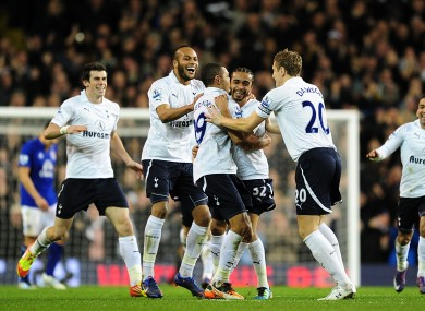 Benoit Assou-Ekotto celebrates Spurs' second goal against Everton