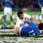 Not only does Farrell show ice cool poise under the pressure of kicking, he is also manning up to the physicality required in midfield. This picture is testimony to that as he lays out Tommaso Benvenuti. The tackle would have resulted in seven points for England had the whistle not already been blown.