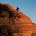 Riding down red rock in Moab, Utah.