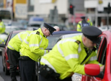 Gardaí operating a checkpoint in Dublin city today.