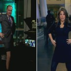 Matt Miller and Gigi Stone, of Bloomberg TV, doing their best Jolie. Sent to http://angelinajolieing.tumblr.com/
