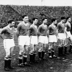 Lining out for the last time in Belgrade, Busby's Babes, from left to right: Duncan Edwards, Eddie Colman, Mark Jones, Ken Morgans, Bobby Charlton, Dennis Viollet, Tommy Taylor, Billy Foulkes, Harry Gregg, Albert Scanlon, Roger Byrne.