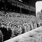 The Twickenham crowd observes a minute's silence before an England v Ireland Five Nations game, in memory of the Manchester United players killed in the Munich Air Disaster two days before.