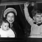 1964 brought Queen Elizabeth her fourth child, a third son: here she leaves Liverpool St train station with Prince Edward, nine months, and Prince Andrew. They were heading for Sandringham for their Christmas holiday. Prince Philip, by now the Duke of Edinburgh, had brought Prince Charles and Princess Anne on a skiing holiday.
