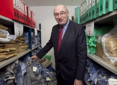 Phil Hogan in the mailing room during a visit to the Household Charge Bureau in Dublin today