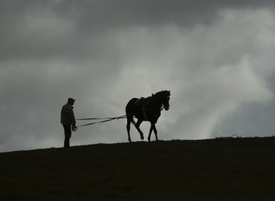 A man goes through the process of breaking in a horse, against a leaden sky on the Curragh Plains in County Kildare today.