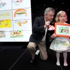 Five-year-old Lara Mullally from Rathdrum, Co. Wicklow with John Herlihy, Head of Google Ireland at the Doodle 4 Google awards ceremony.Photo: Mark Stedman/Photocall Ireland
