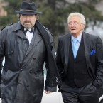 Comedians Brendan Grace (left) and Sil Fox pictured arriving at the funeral mass. 