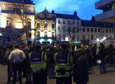 With the garda present, Occupy Dame Street protesters assembled outside the Central Bank tonight promising to reform in the wake of their camp being  taken down earlier today. 