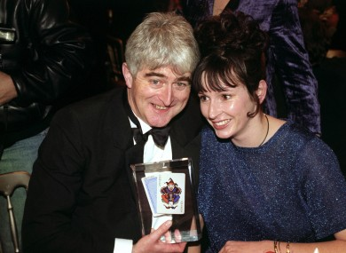The late Dermot Morgan, 60 years old today, with his partner Fiona at the 1996 British Comedy Awards.