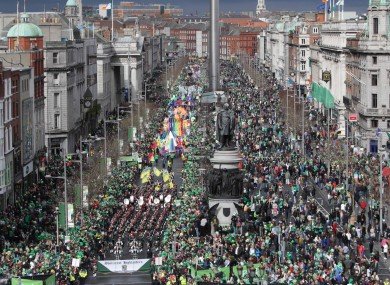 The parade on Dublin's O'Connell Street today